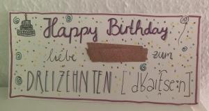 Geburtstagskarte zum 13.